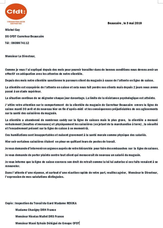 intervention cfdt drh carrefour caisses